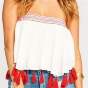 Show Me Your MuMu White Top With Red Tassels
